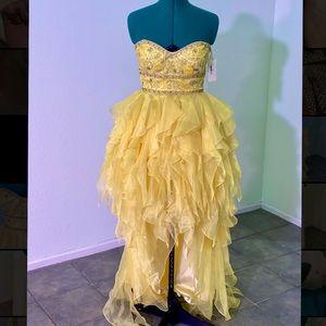 Yellow handkerchief Jovani high-low evening gown